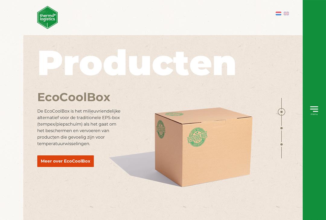 afbeelding website ecocoolbox, voorbeeld van component, verticale slider met producten als titel, diverse producten afgebeeld met inleidende tekst
