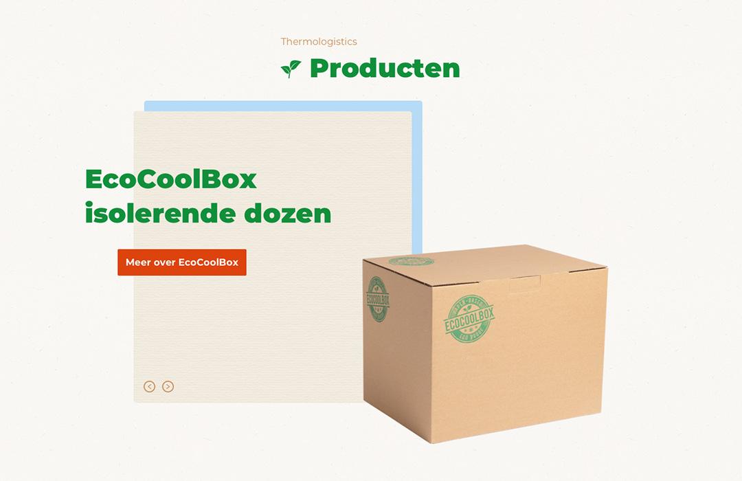 afbeelding website ecocoolbox, voorbeeld van component, slider met titel en een foto van een doos