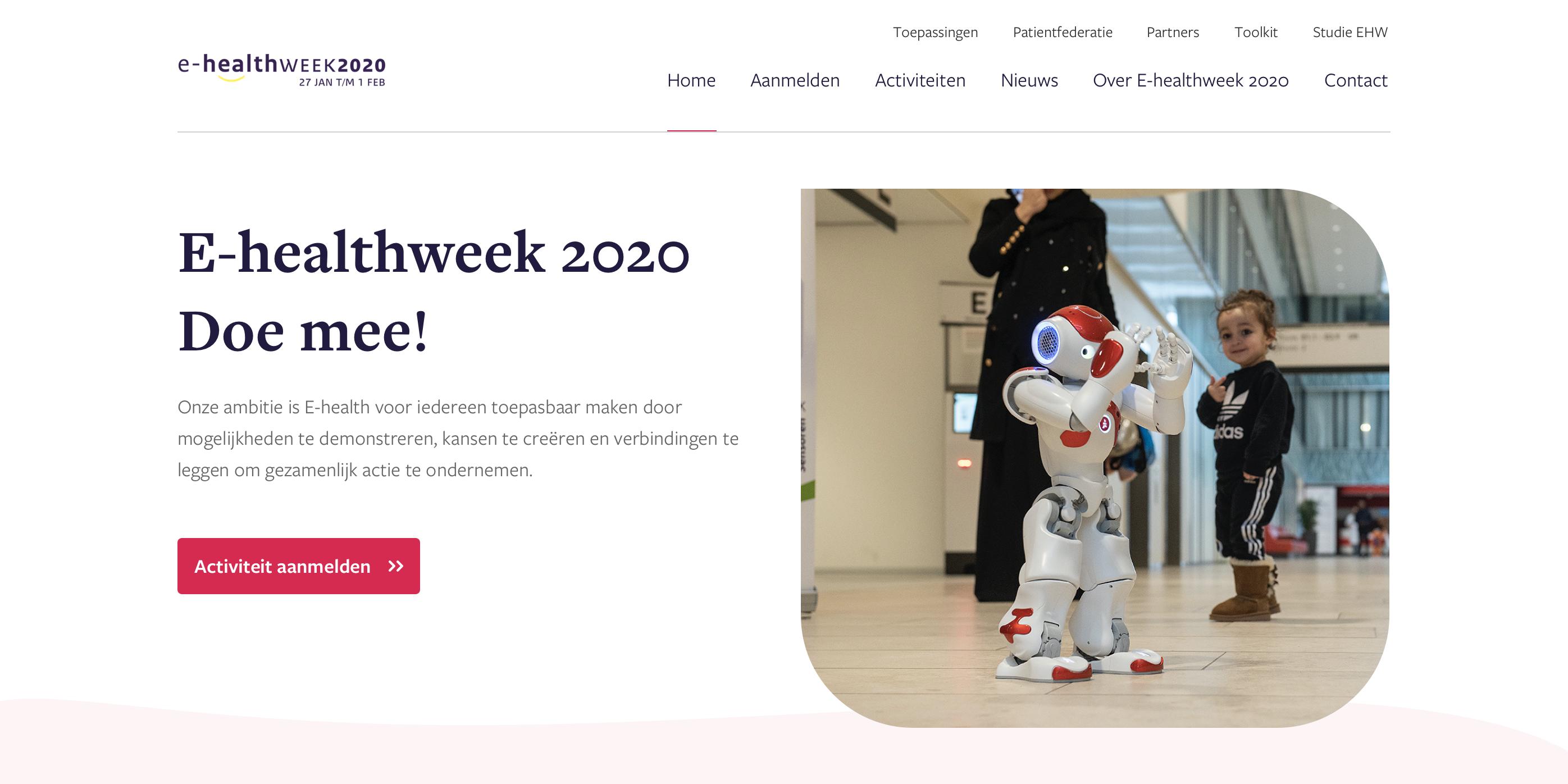 afbeeding website homepage ehealthweek, bevat tekst E-healthweek 2020 Doe mee!