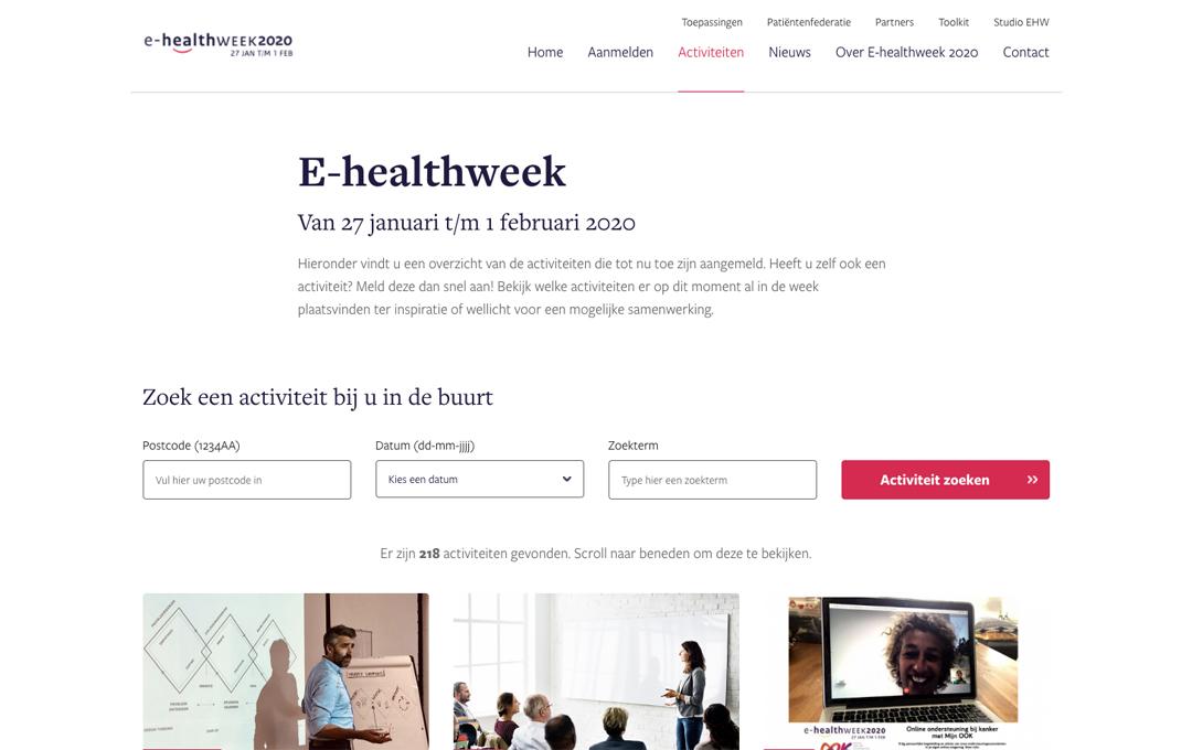 afbeelding website ehealthweek, bevat titel, navigatie, zoekfunctie en drie fotos