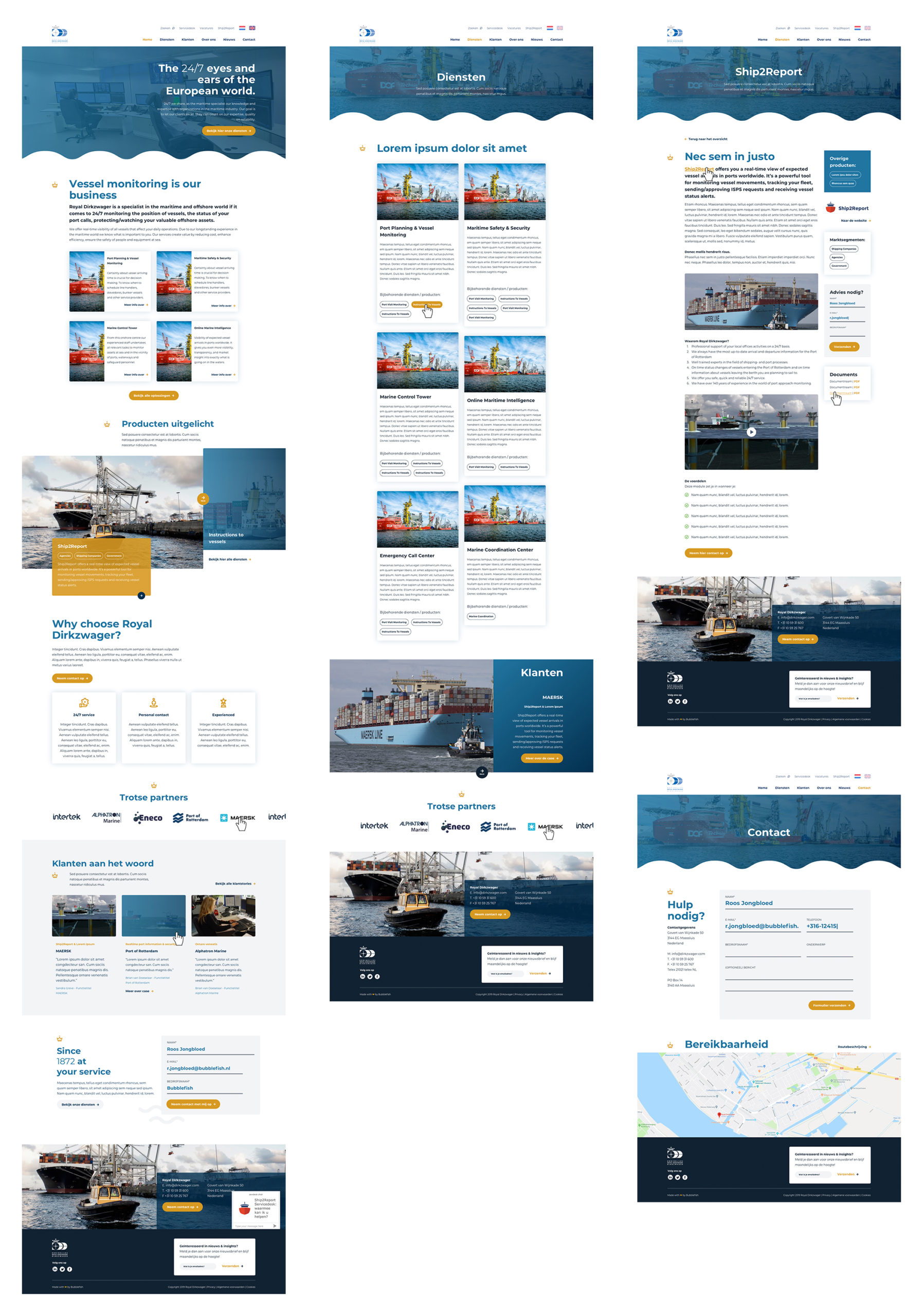 afbeelding ontwerpoverzicht website dirkzwager met homepage, diensten, contact en informatie
