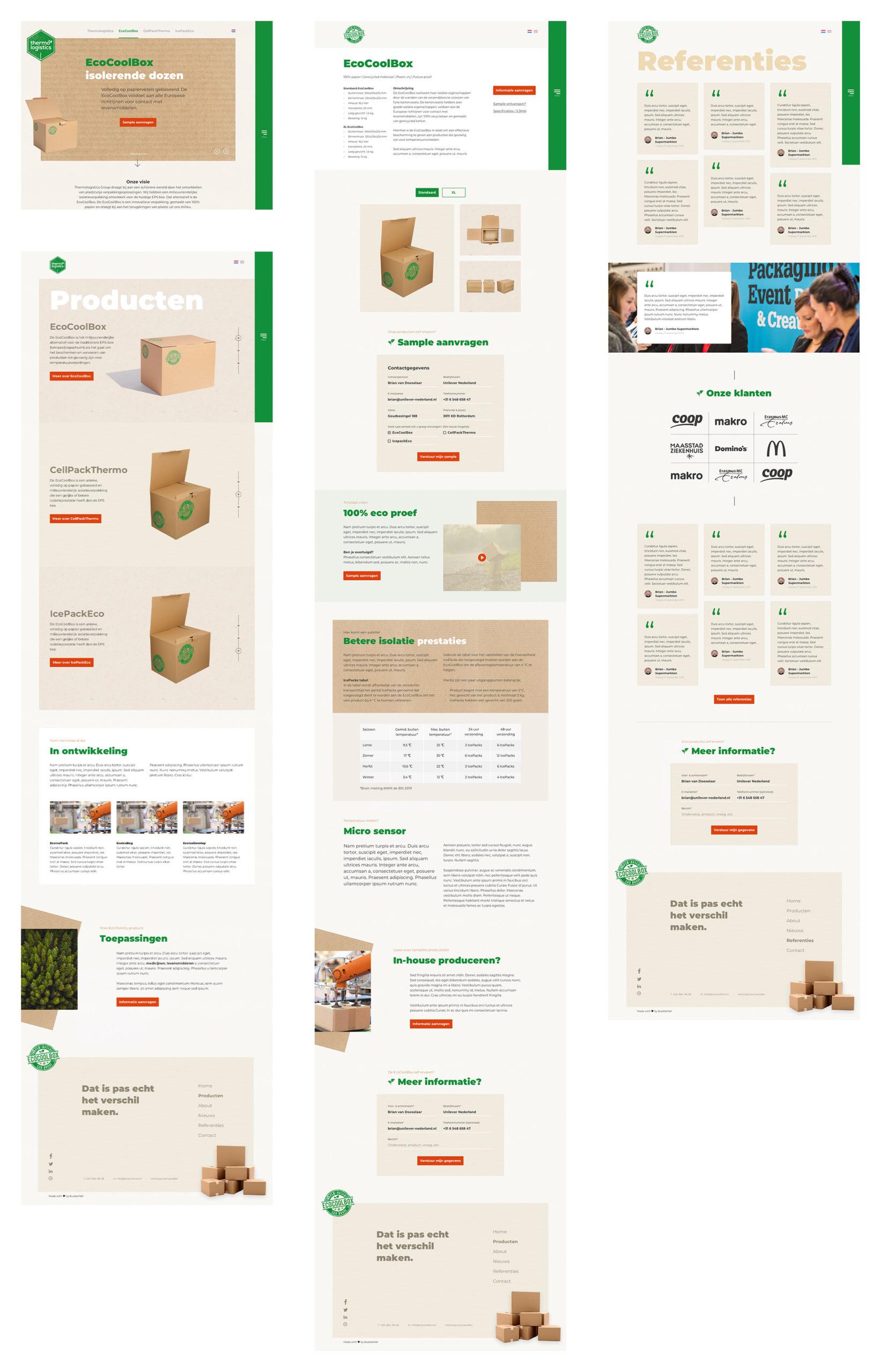 afbeelding ontwerpoverzicht ecocoolbox waaronder schermen voor homepagina, productpagina, referenties en contact