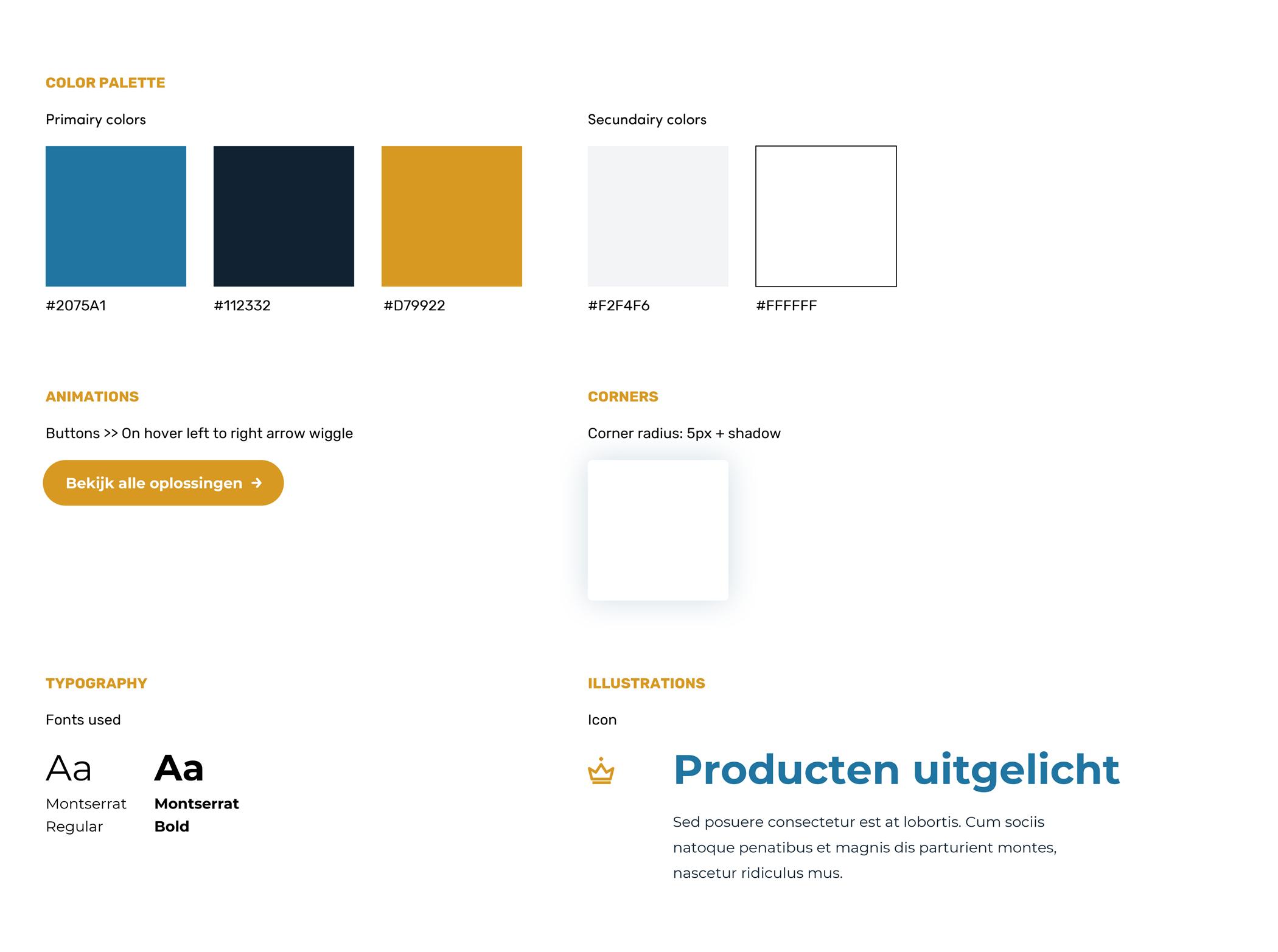 afbeelding ontwerpvoorbeeld styleguide dirkzwager, bevat kleuren, teksten, groottes, patronen.
