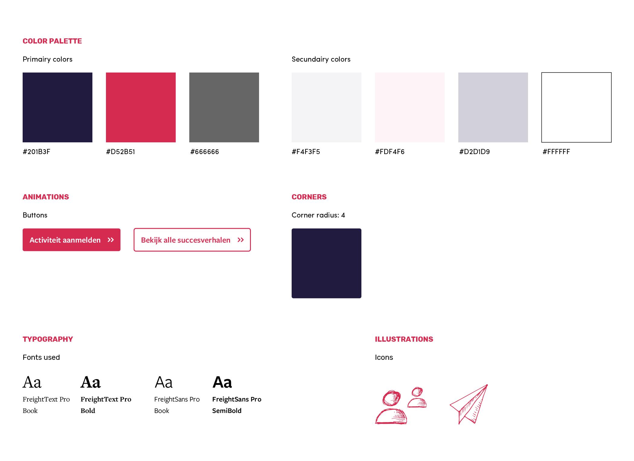 afbeelding ontwerp styleguide voor website ehealthweek, bevat kleuren, lettertypes, iconen en knoppen