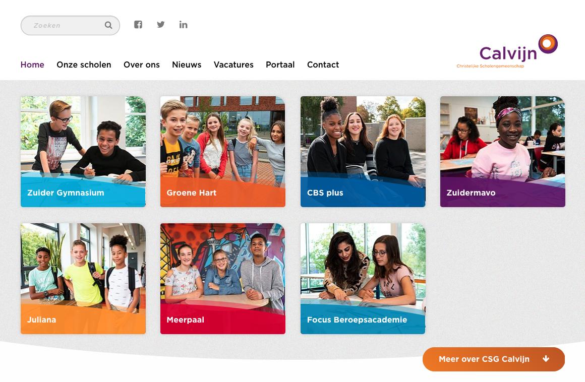 Afbeelding van deel van de website van Calvijn, diverse locaties
