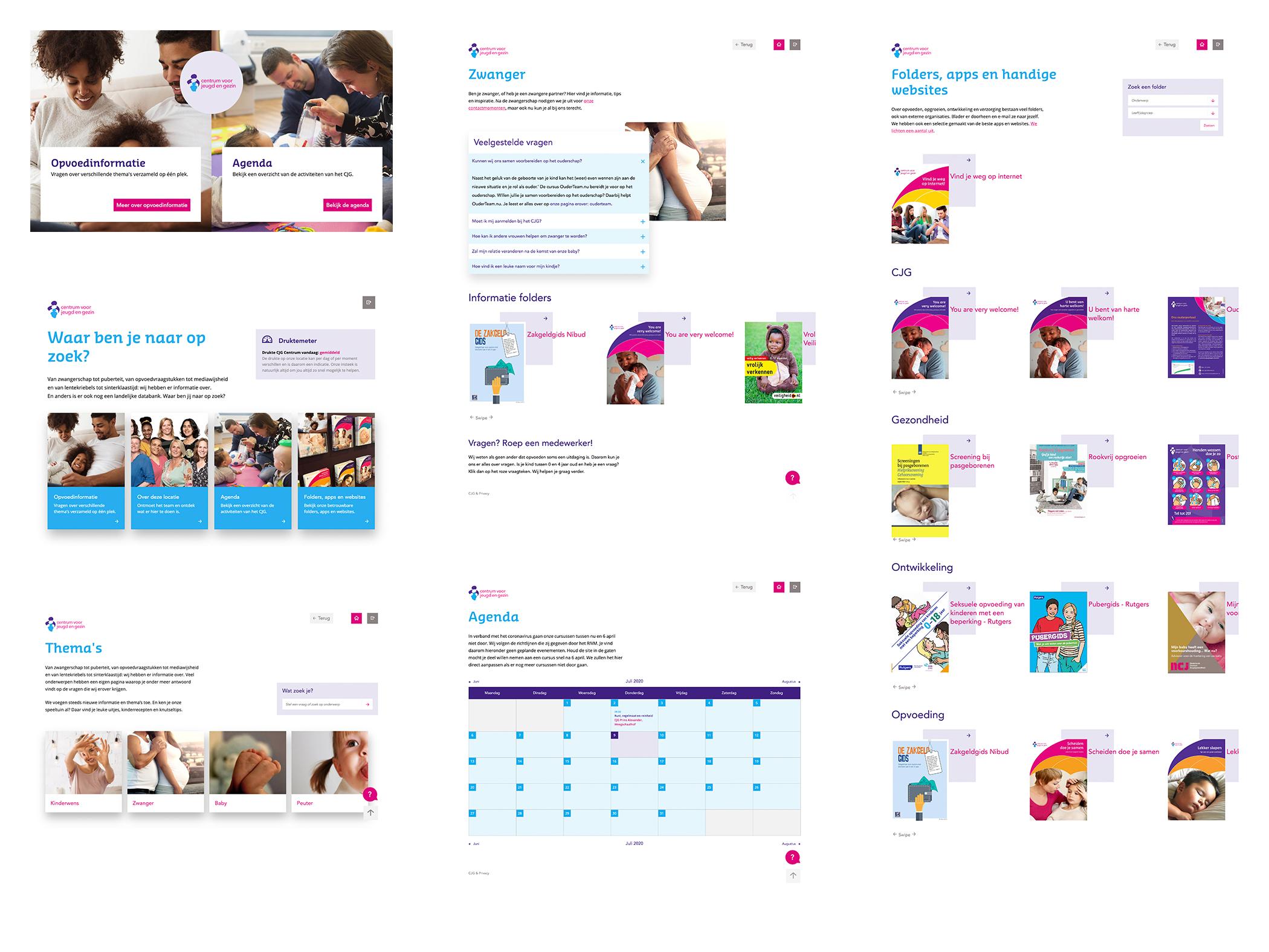 afbeelding ontwerpoverzicht van centrum voor jeugd en gezin tablet applicatie bevat home, onderwerpen, themas, agenda en folders