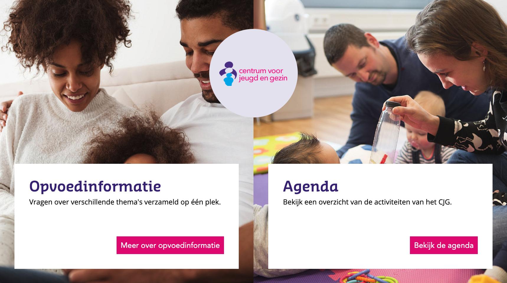 afbeelding centrum voor jeugd webapplicatie tablet slider met 2 opties, opvoedinformatie en agenda