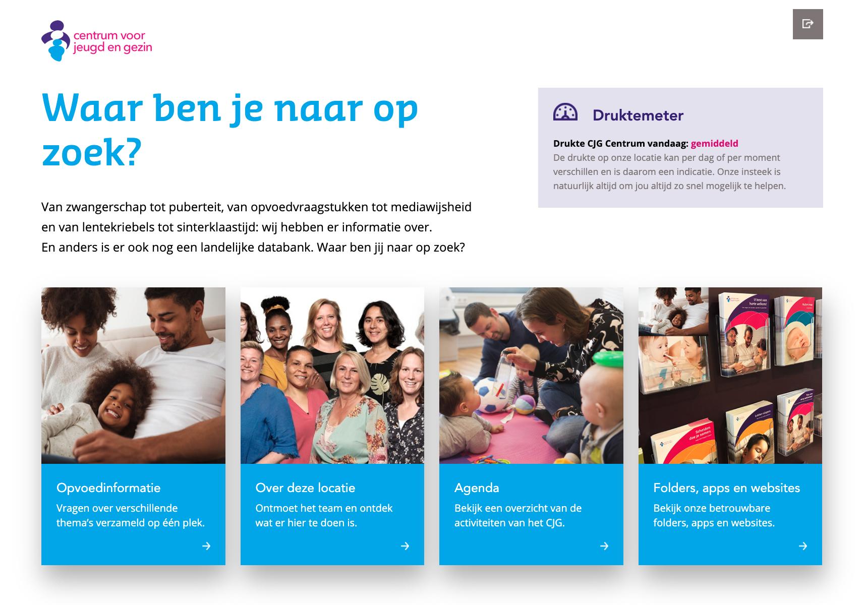 afbeelding van centrum voor jeugd en gezin webapplicatie tablet menu met opties
