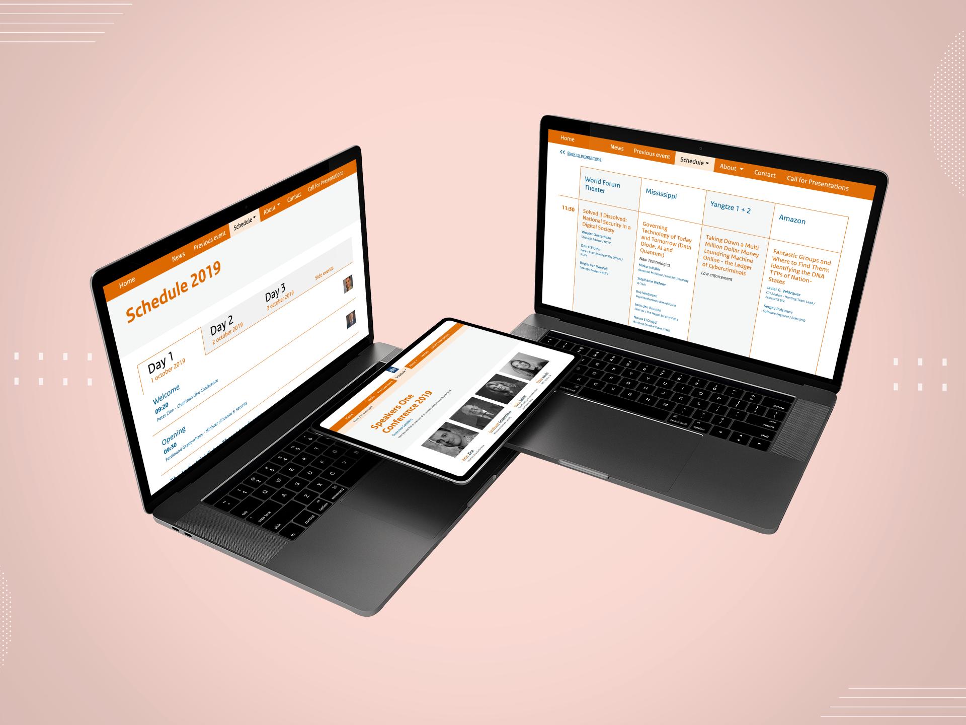 afbeelding laptops op roze achtergrond met schedule 2019 website one conference