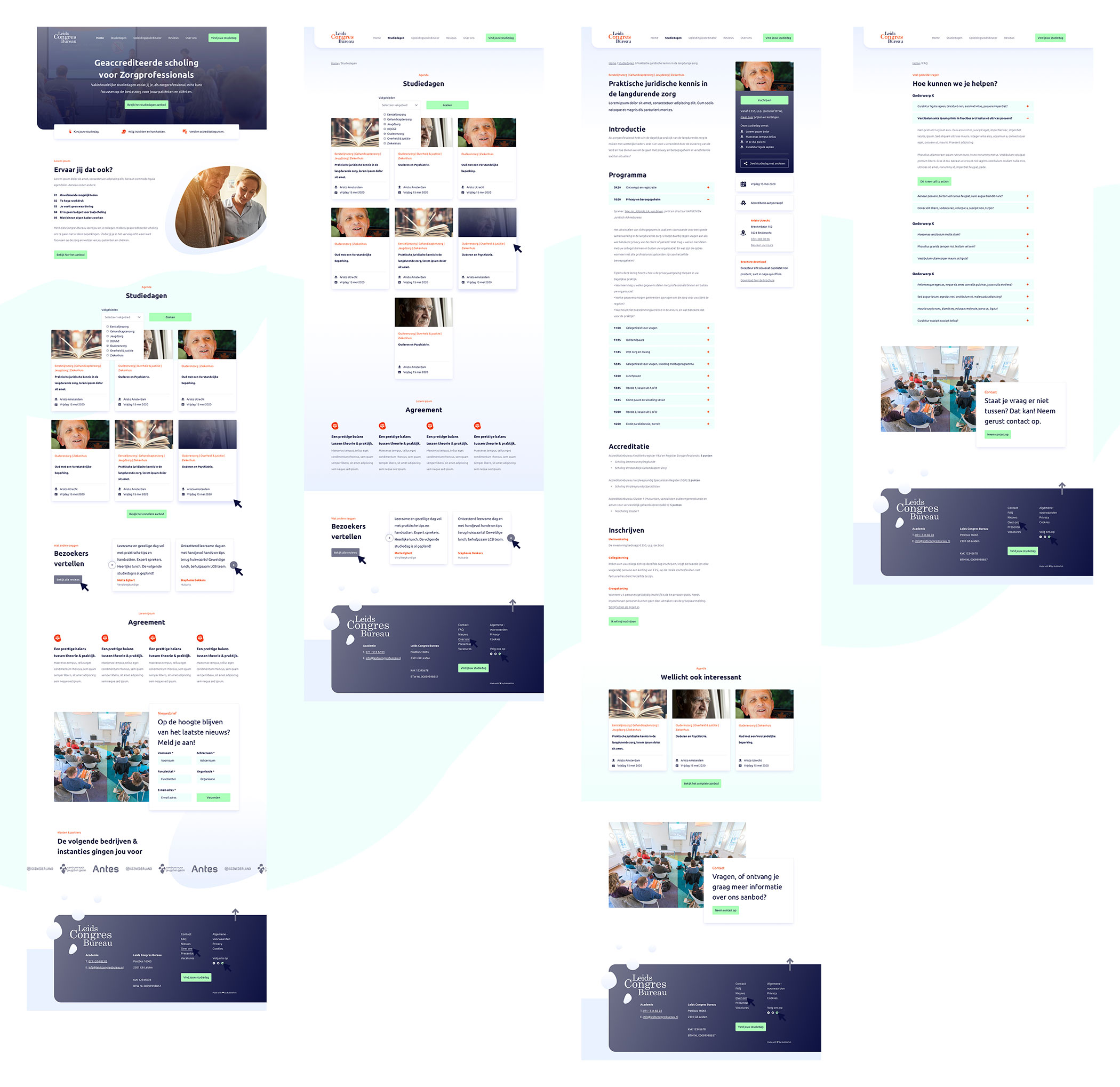 Afbeelding met een viertal template ontwerpen uit het volledige ontwerp om en totaalbeeld te geven