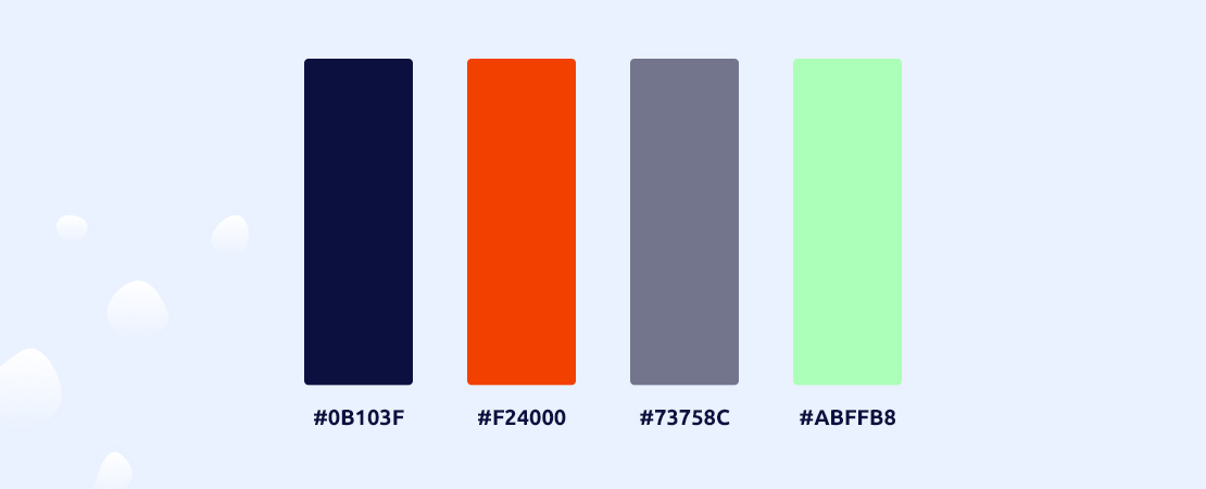 Afbeelding van de 4 gebruikte hoofdkleuren uit de styleguide: donker blauw, oranje, licht paars en fel groen