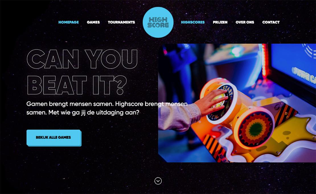 Afbeelding van de homepage om de sfeer van het ontwerp weer te geven