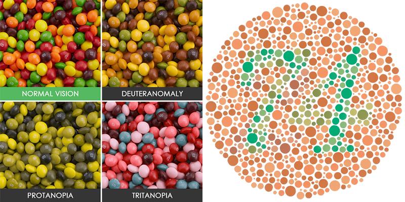 Afbeelding om de verschillende kleurenblindheid soorten te visualiseren