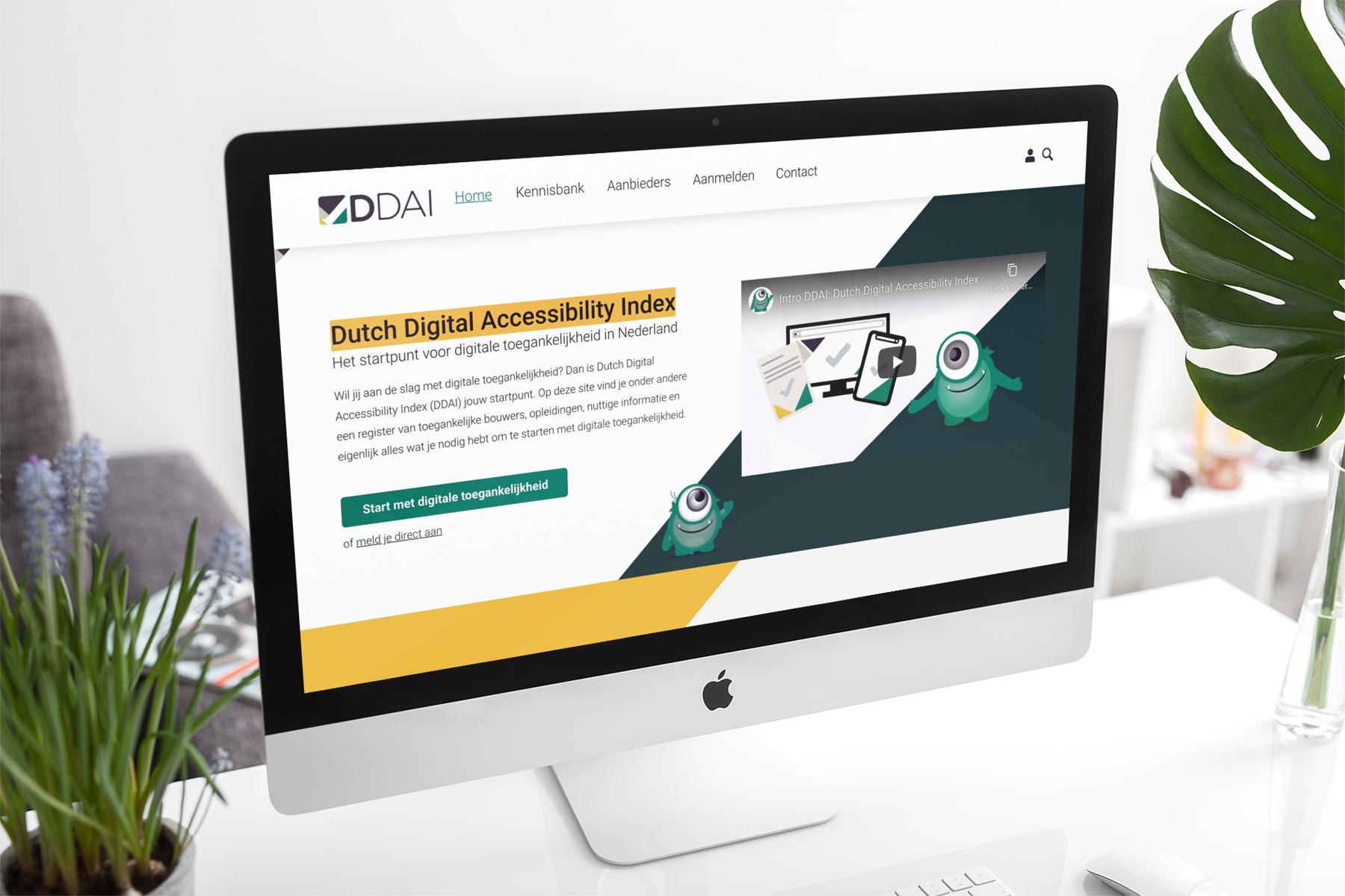 Mockup afbeelding van de website van de ddai