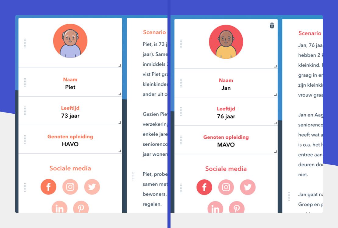Twee screenshots van persona's die over elkaar heen liggen om een beeld te geven van een dergelijke deliverable