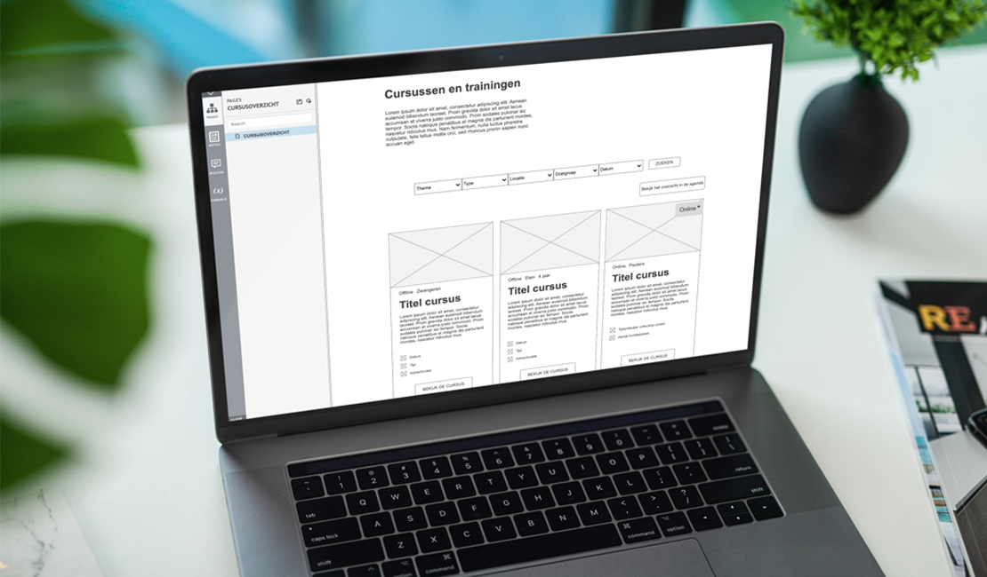 Macbook mockup van een low-fidelity wireframe