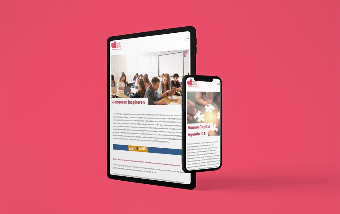 Visual van de website van HCA op een tablet
