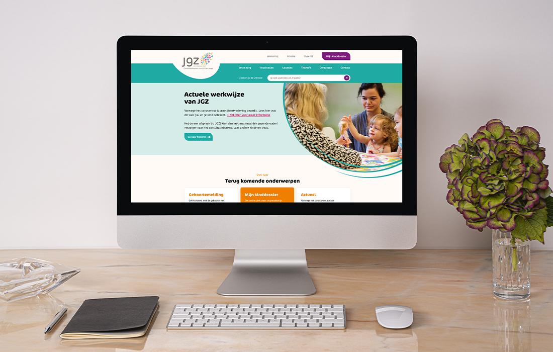 Visual van de JGZ website op een imac